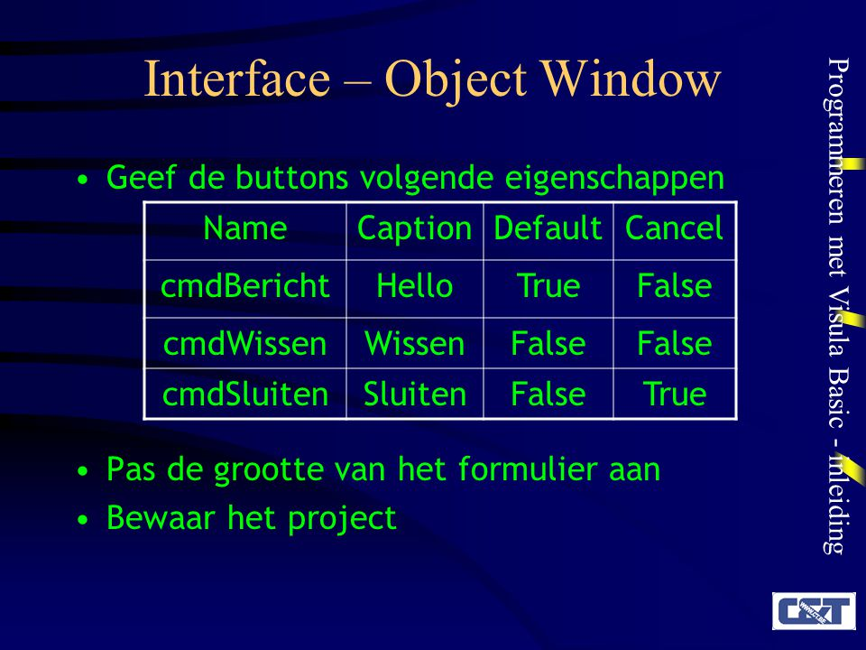 Interface – Object Window