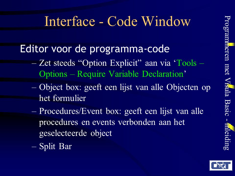 Interface - Code Window
