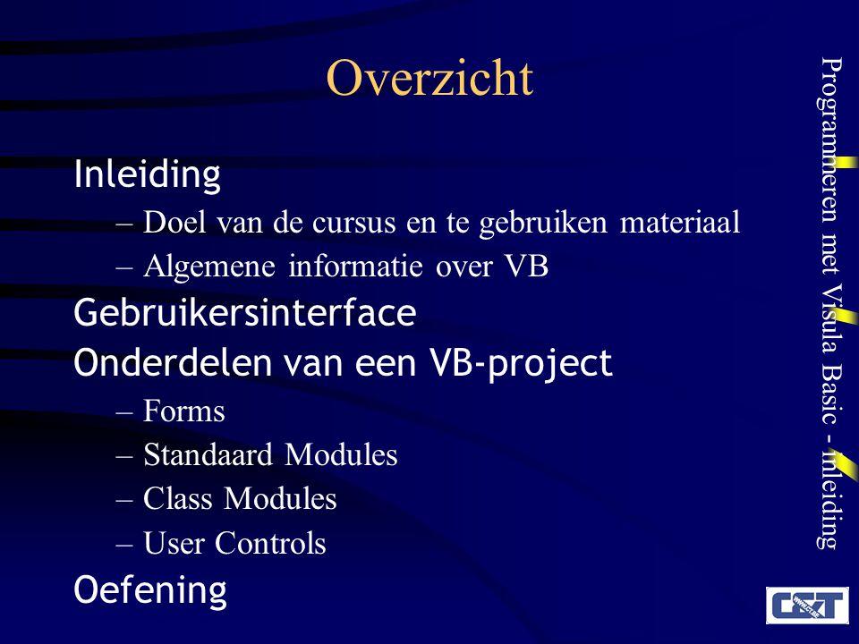 Overzicht Inleiding Gebruikersinterface Onderdelen van een VB-project