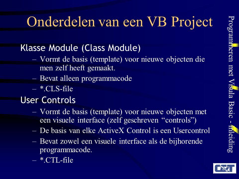 Onderdelen van een VB Project