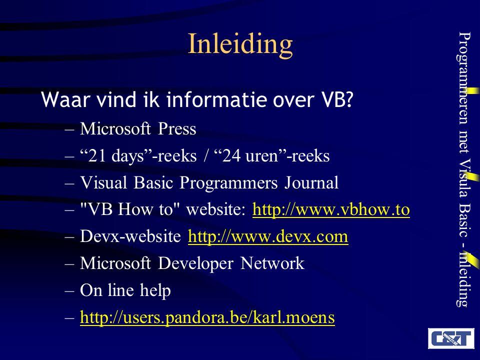 Inleiding Waar vind ik informatie over VB Microsoft Press