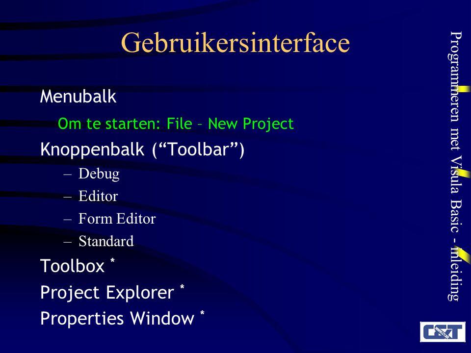 Gebruikersinterface Menubalk Om te starten: File – New Project