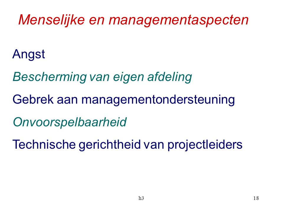 Menselijke en managementaspecten