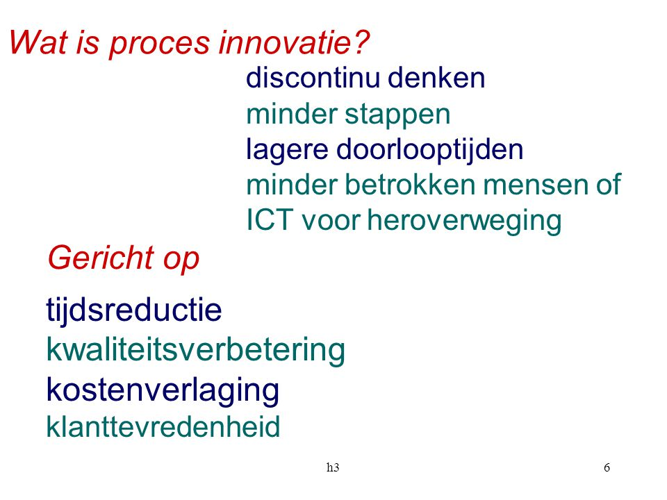 Wat is proces innovatie