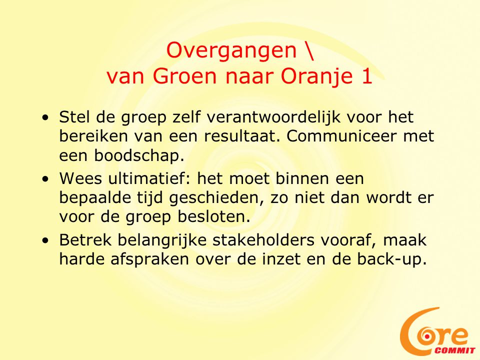 Overgangen \ van Groen naar Oranje 1