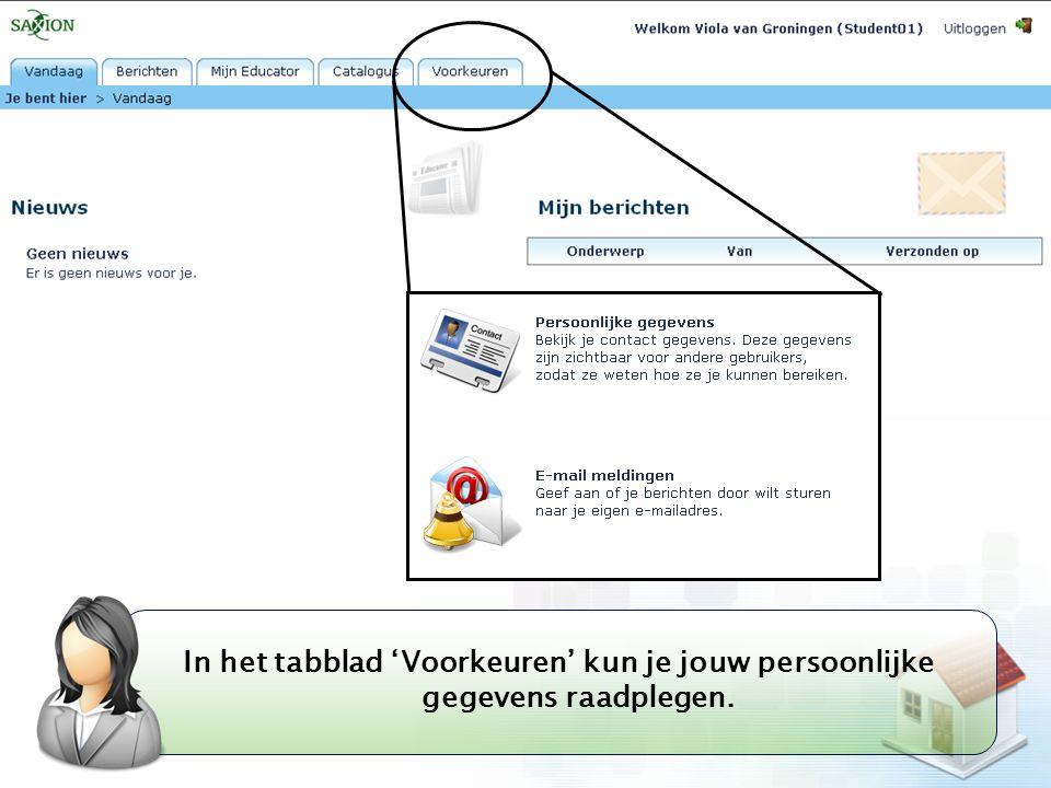 In het tabblad 'Voorkeuren' kun je jouw persoonlijke gegevens raadplegen.