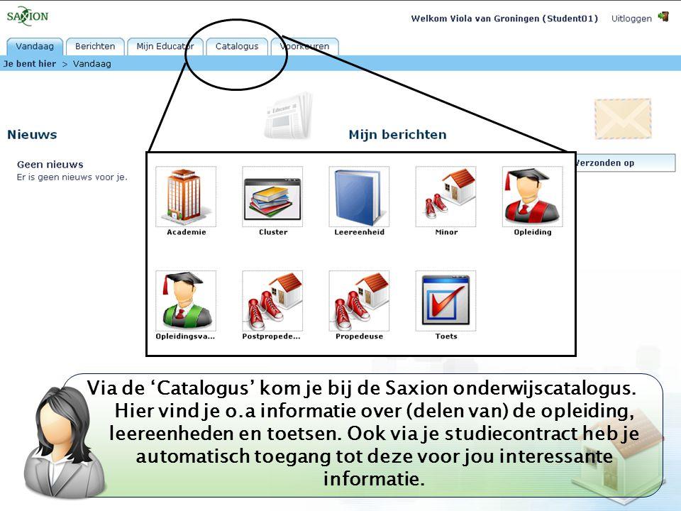 Via de 'Catalogus' kom je bij de Saxion onderwijscatalogus