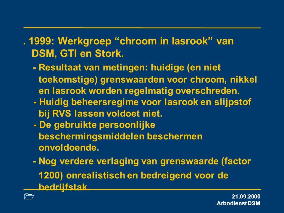 1999: Werkgroep chroom in lasrook van DSM, GTI en Stork