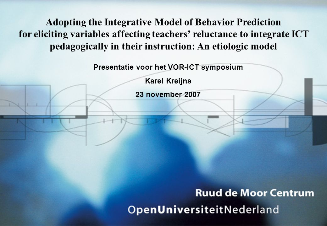 Adopting the Integrative Model of Behavior Prediction