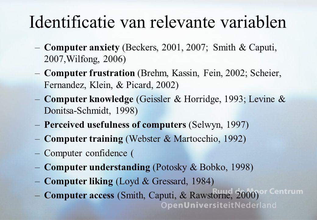 Identificatie van relevante variablen
