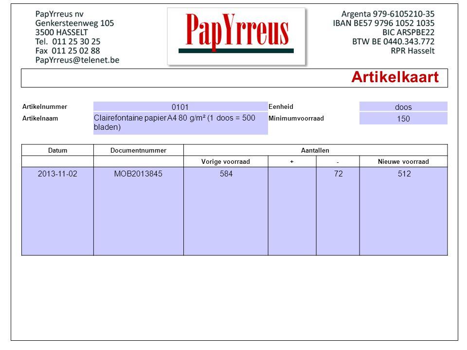 Artikelkaart Artikelnummer. 0101. Eenheid. doos. Artikelnaam. Clairefontaine papier A4 80 g/m² (1 doos = 500 bladen)