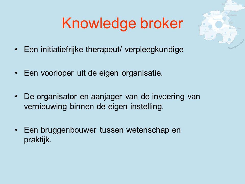 Knowledge broker Een initiatiefrijke therapeut/ verpleegkundige