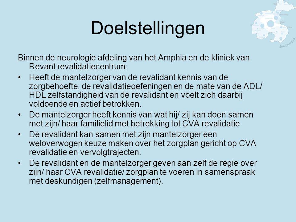 Doelstellingen Binnen de neurologie afdeling van het Amphia en de kliniek van Revant revalidatiecentrum: