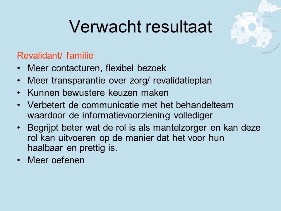 Verwacht resultaat Revalidant/ familie