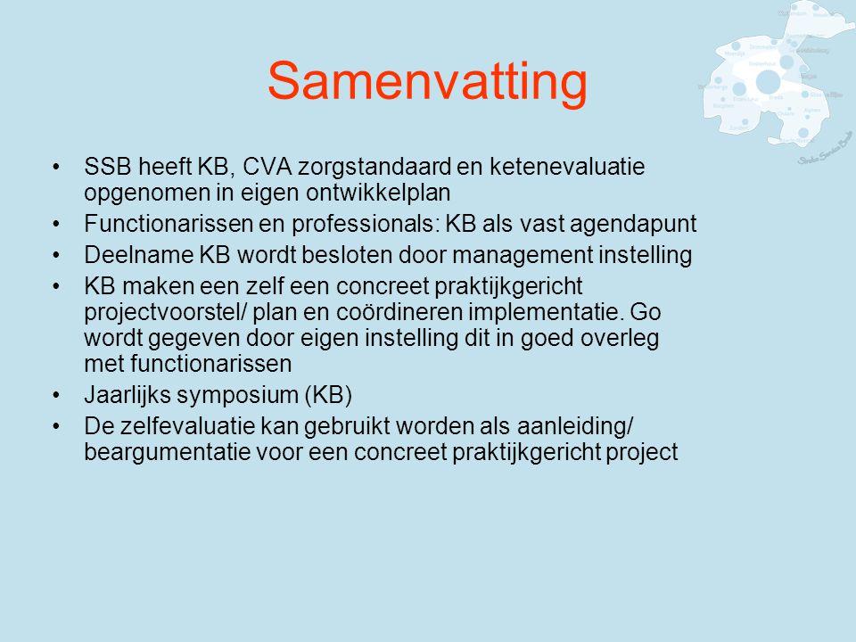 Samenvatting SSB heeft KB, CVA zorgstandaard en ketenevaluatie opgenomen in eigen ontwikkelplan.