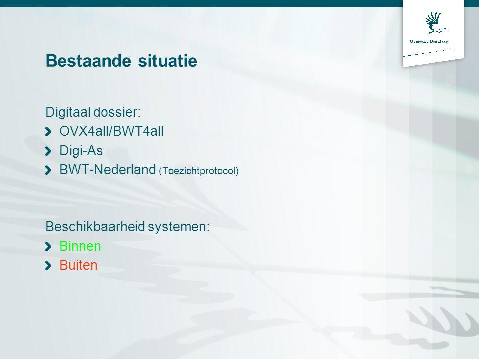 Bestaande situatie Digitaal dossier: OVX4all/BWT4all Digi-As