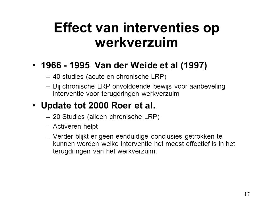 Effect van interventies op werkverzuim