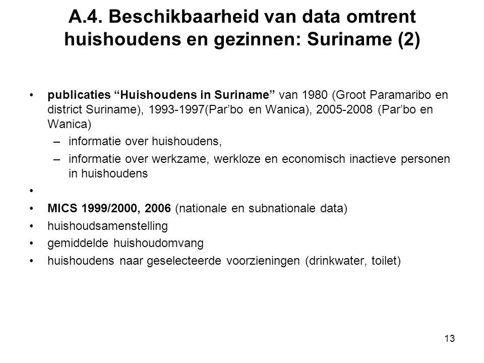 A.4. Beschikbaarheid van data omtrent huishoudens en gezinnen: Suriname (2)