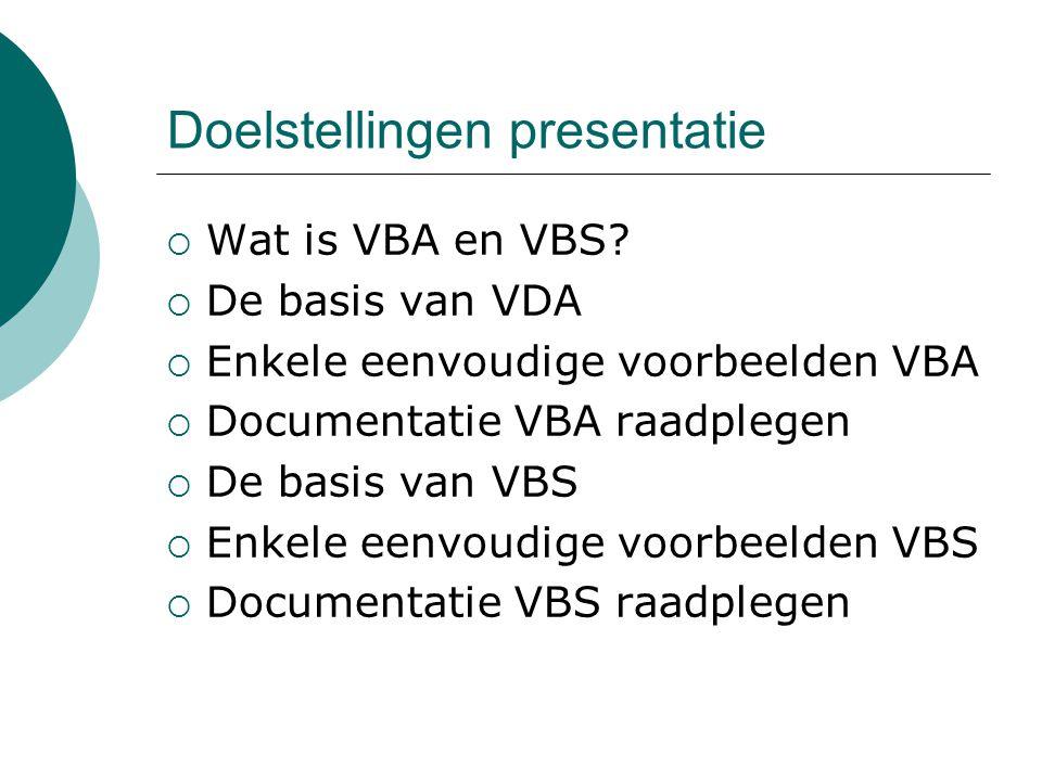 Doelstellingen presentatie