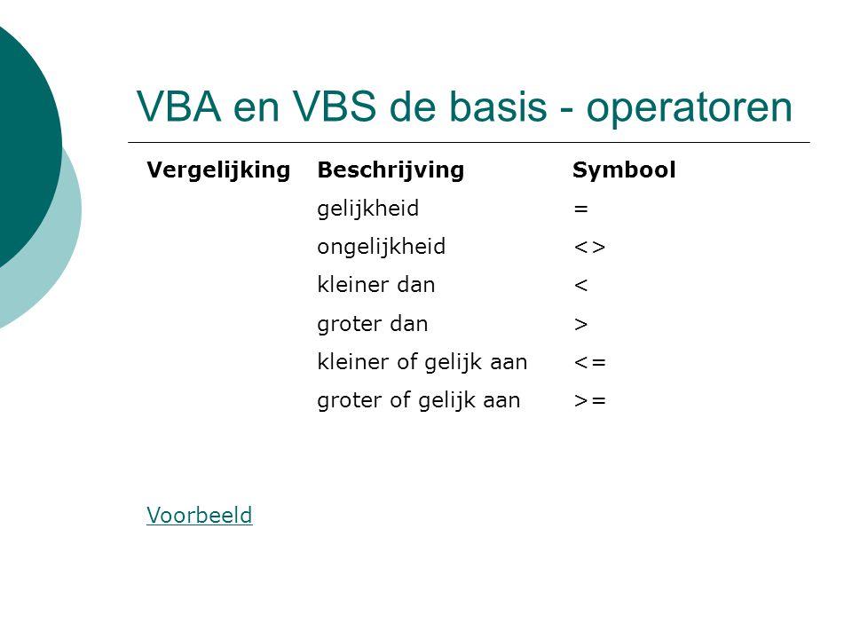 VBA en VBS de basis - operatoren