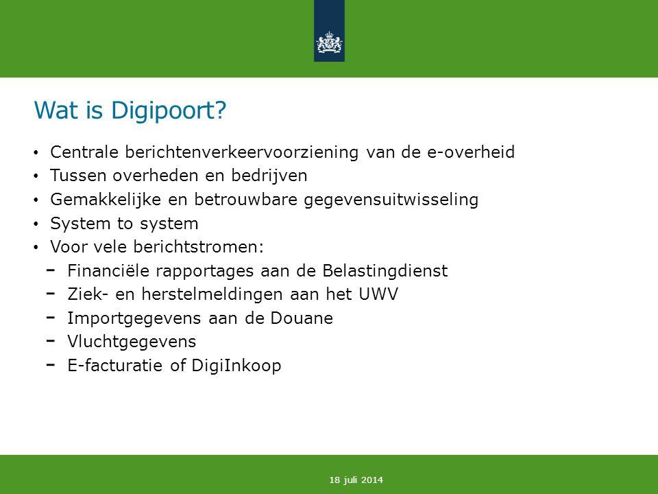 Wat is Digipoort Centrale berichtenverkeervoorziening van de e-overheid. Tussen overheden en bedrijven.