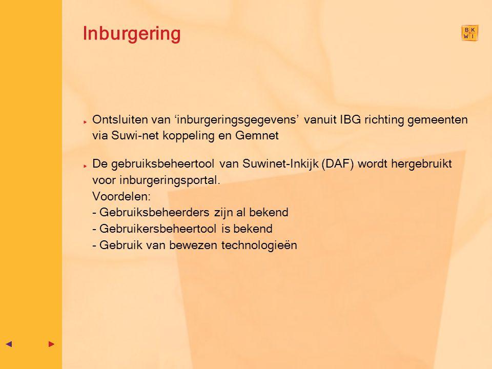 Inburgering Ontsluiten van 'inburgeringsgegevens' vanuit IBG richting gemeenten via Suwi-net koppeling en Gemnet.