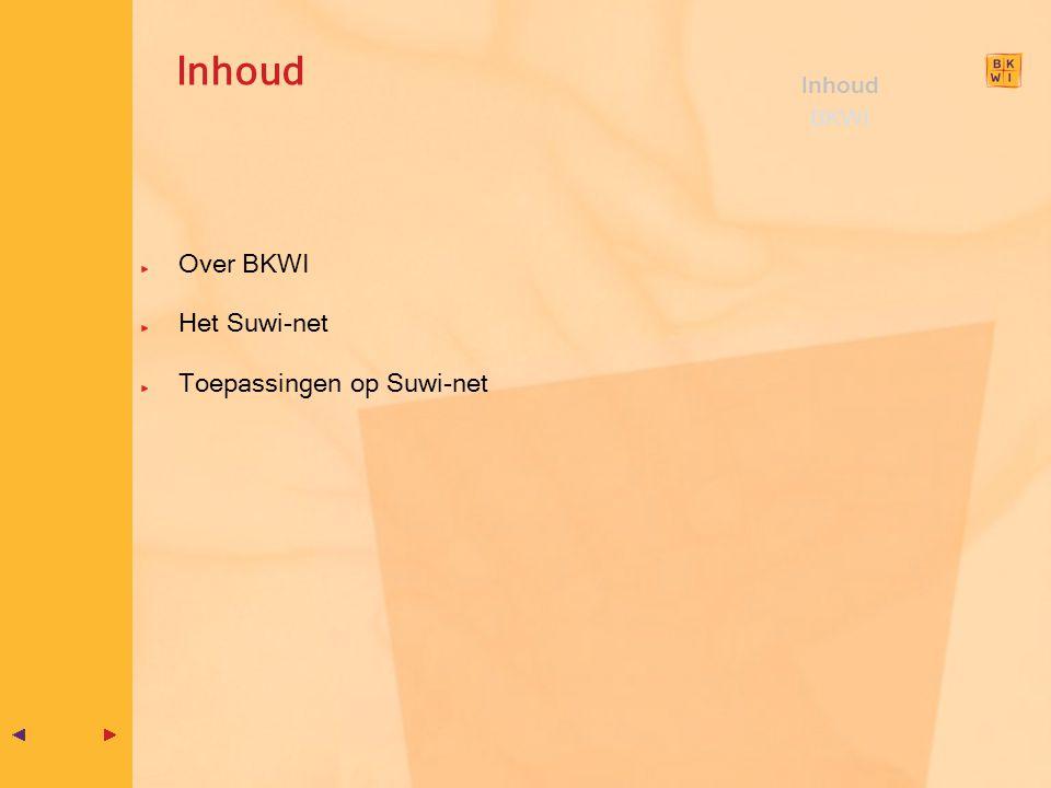 Inhoud Inhoud BKWI Over BKWI Het Suwi-net Toepassingen op Suwi-net