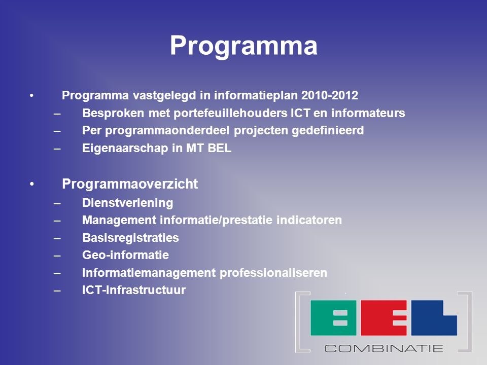 Programma Programmaoverzicht