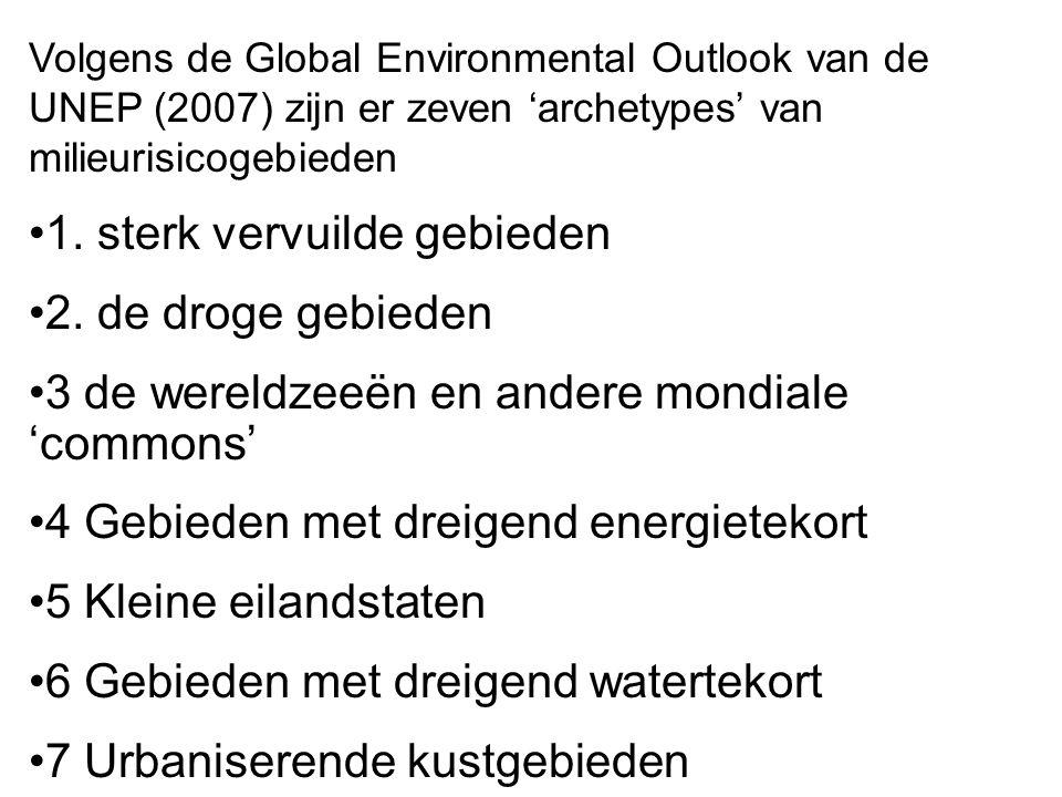 1. sterk vervuilde gebieden 2. de droge gebieden