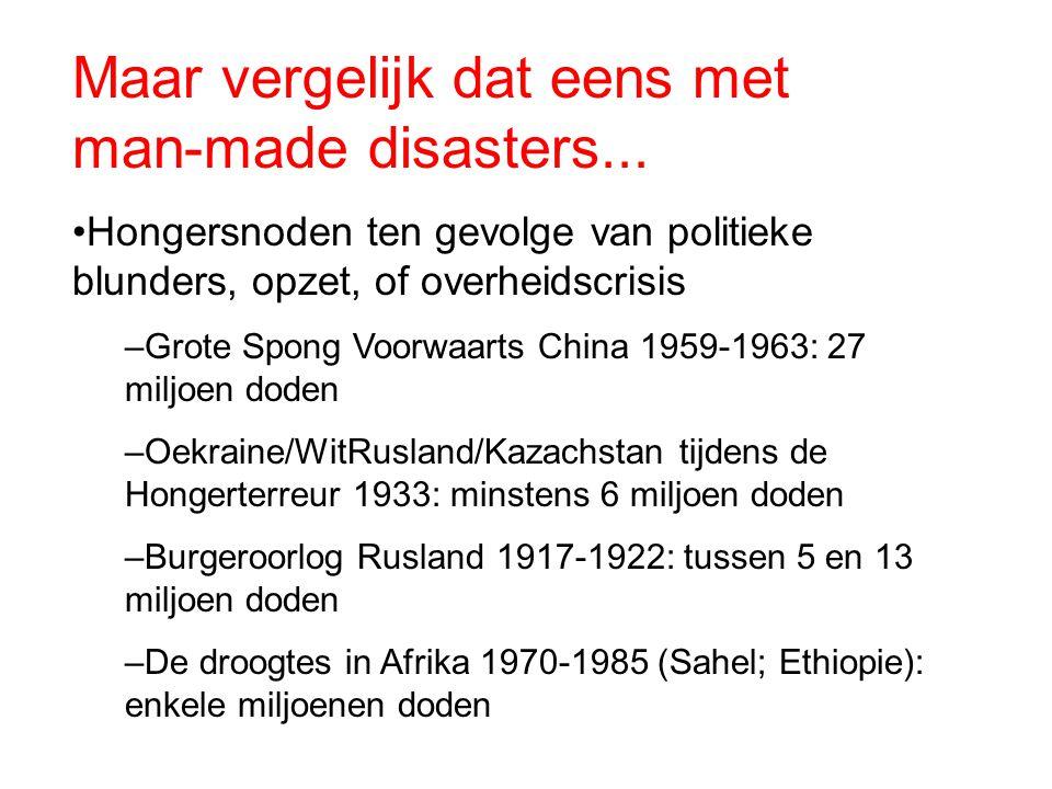 Maar vergelijk dat eens met man-made disasters...