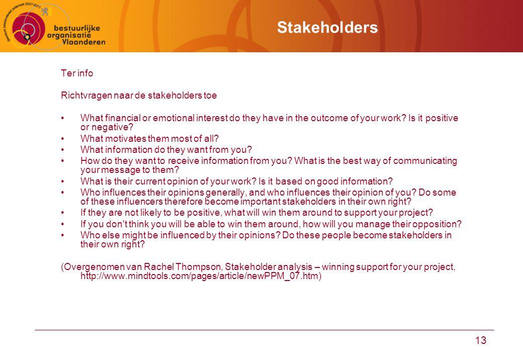 Stakeholders Ter info Richtvragen naar de stakeholders toe