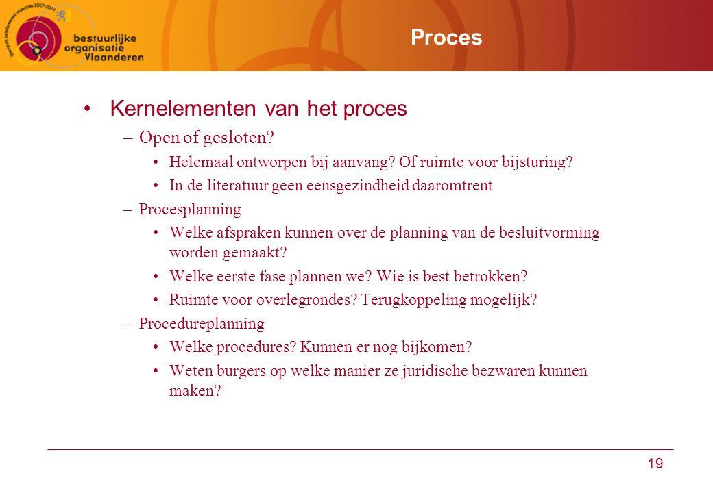Kernelementen van het proces