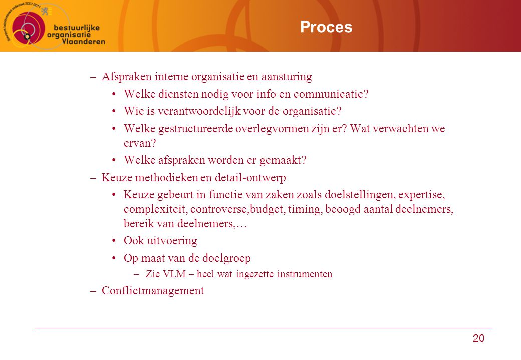 Proces Afspraken interne organisatie en aansturing
