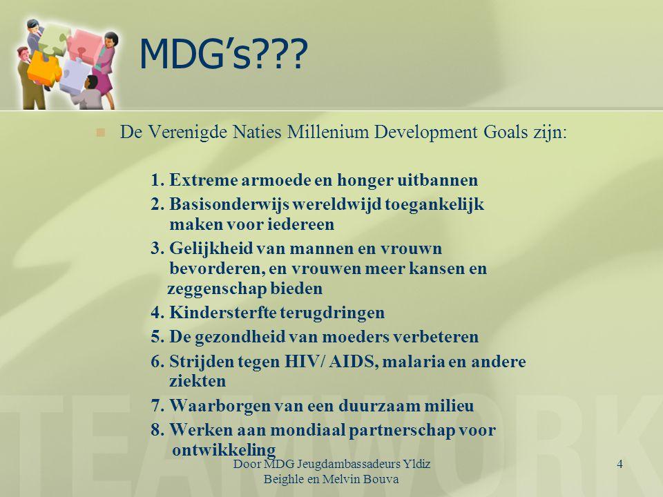 MDG's De Verenigde Naties Millenium Development Goals zijn: