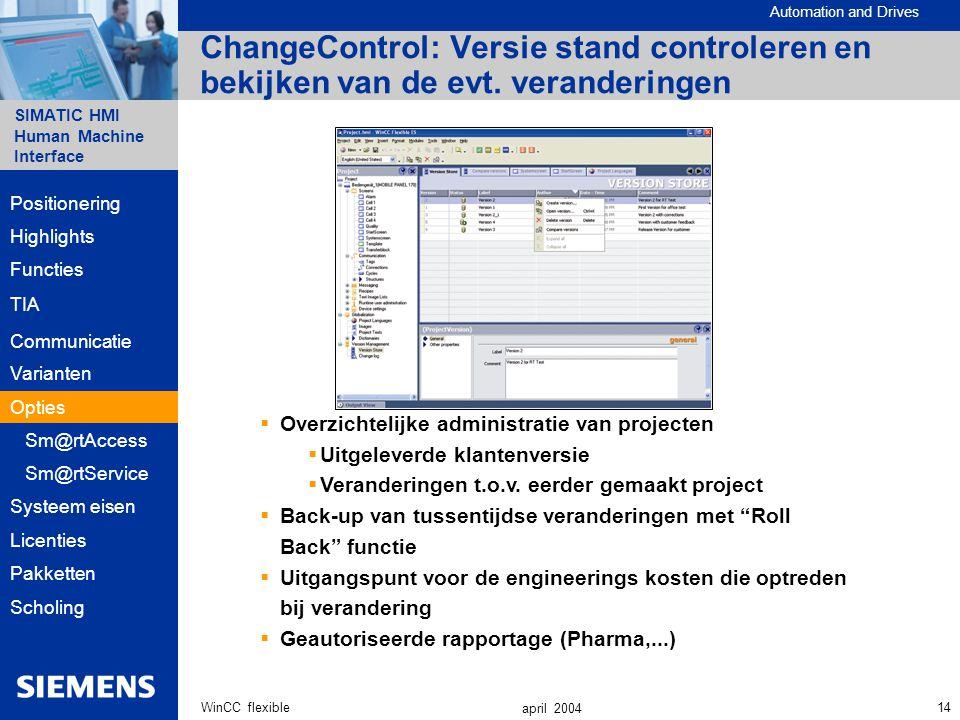 ChangeControl: Versie stand controleren en bekijken van de evt