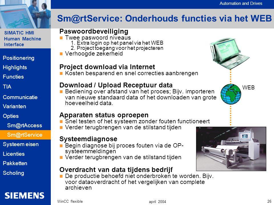 Sm@rtService: Onderhouds functies via het WEB
