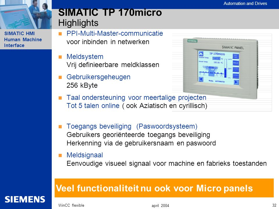 SIMATIC TP 170micro Highlights