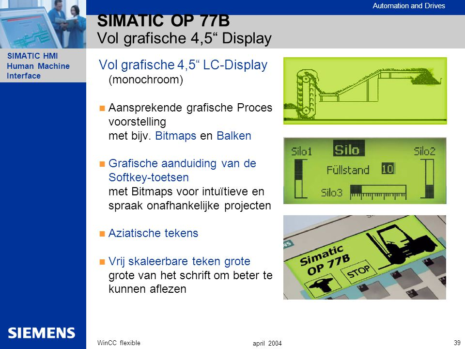 SIMATIC OP 77B Vol grafische 4,5 Display