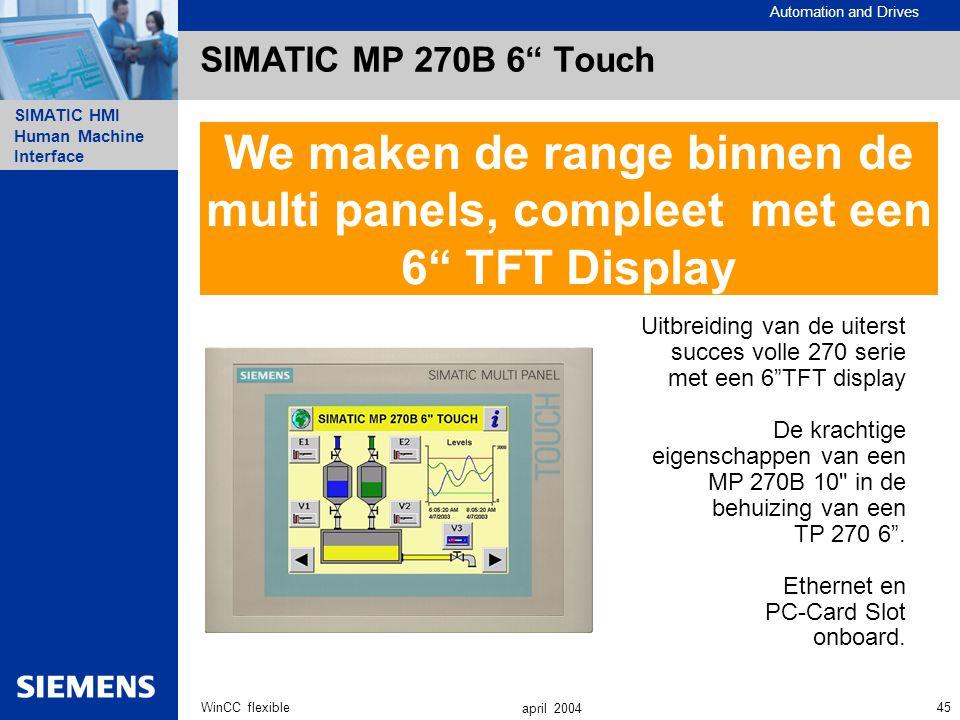 SIMATIC MP 270B 6 Touch We maken de range binnen de multi panels, compleet met een 6 TFT Display.