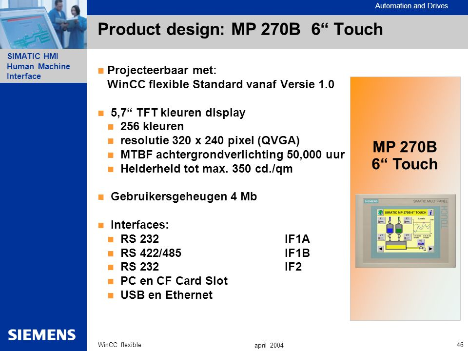 Product design: MP 270B 6 Touch
