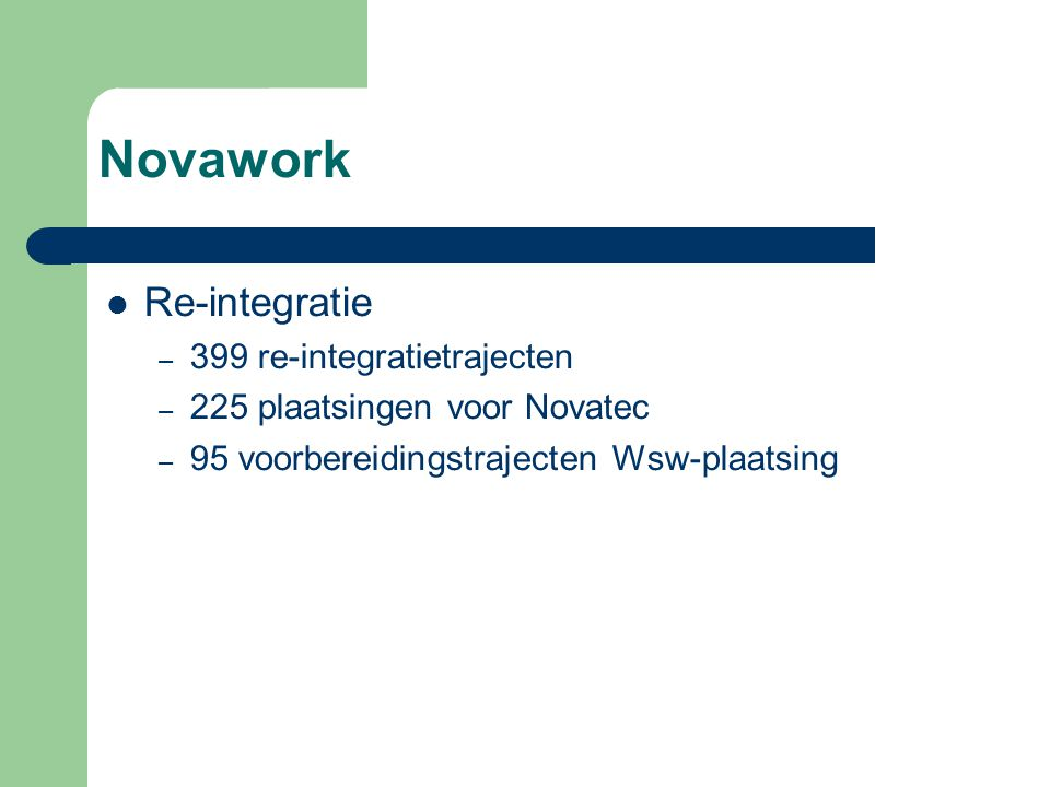 Novawork Re-integratie 399 re-integratietrajecten