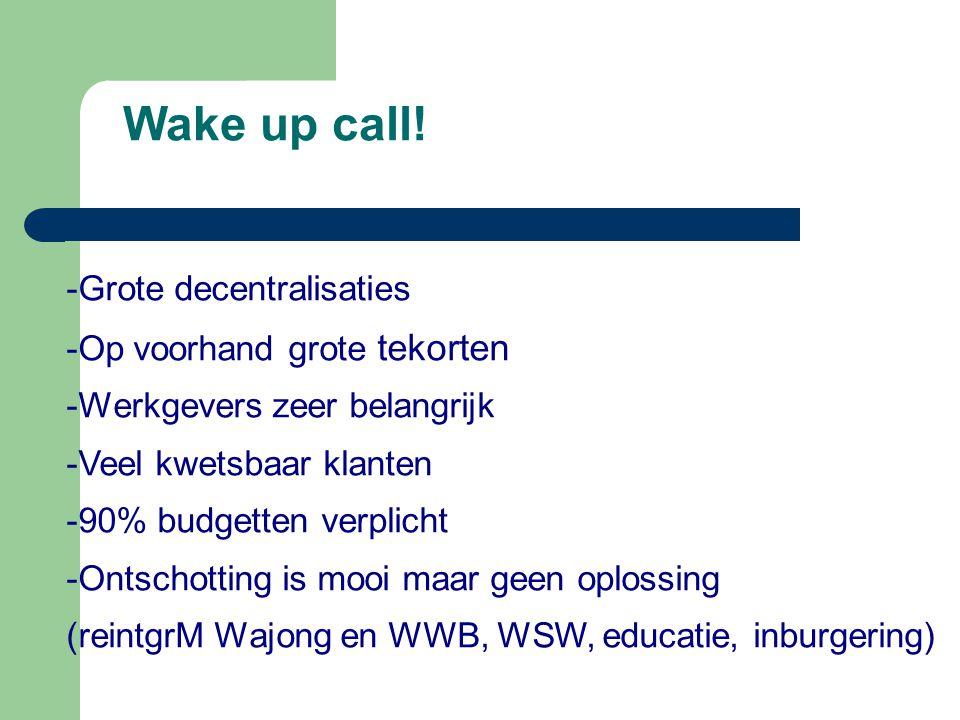 Wake up call! -Grote decentralisaties -Op voorhand grote tekorten