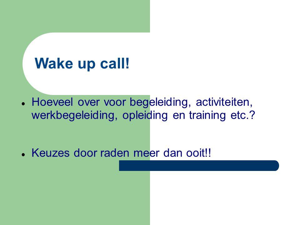 Wake up call! Hoeveel over voor begeleiding, activiteiten, werkbegeleiding, opleiding en training etc.