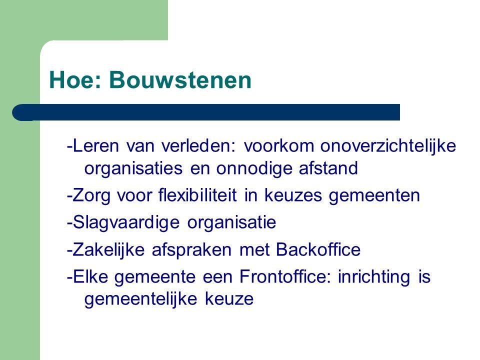 Hoe: Bouwstenen -Leren van verleden: voorkom onoverzichtelijke organisaties en onnodige afstand. -Zorg voor flexibiliteit in keuzes gemeenten.