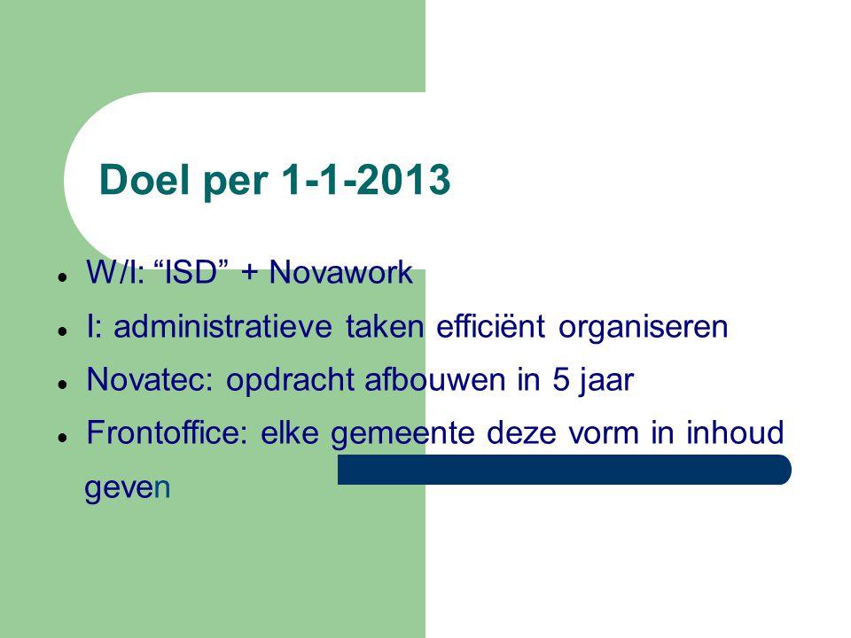 Doel per 1-1-2013 W/I: ISD + Novawork