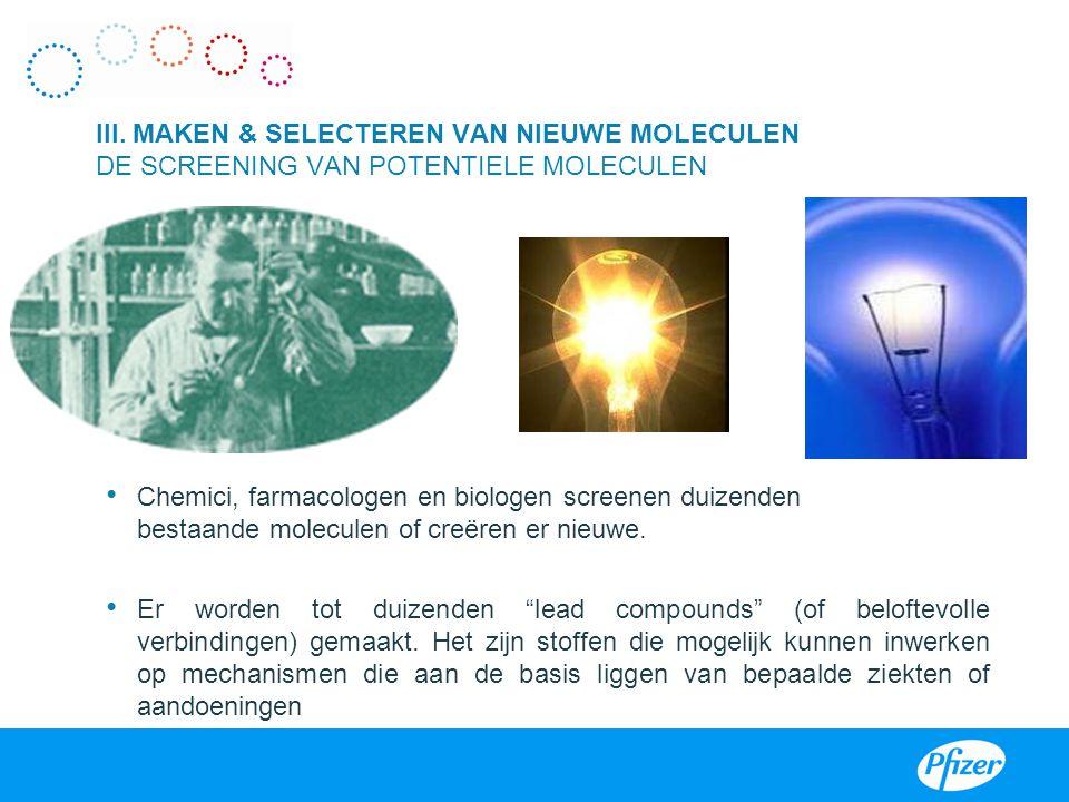 III. MAKEN & SELECTEREN VAN NIEUWE MOLECULEN DE SCREENING VAN POTENTIELE MOLECULEN