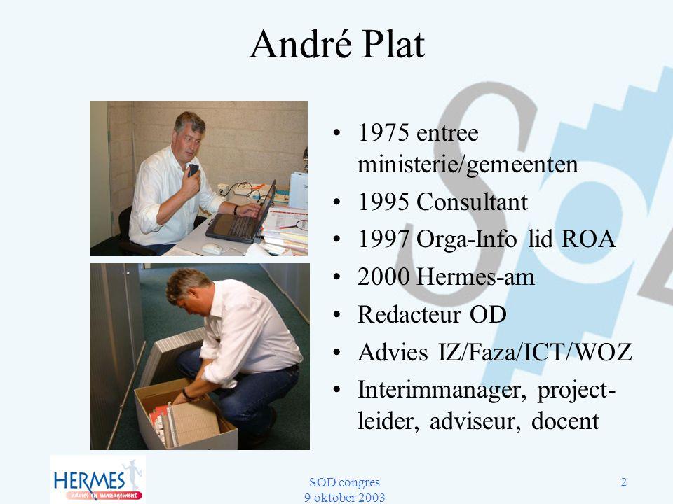 André Plat 1975 entree ministerie/gemeenten 1995 Consultant