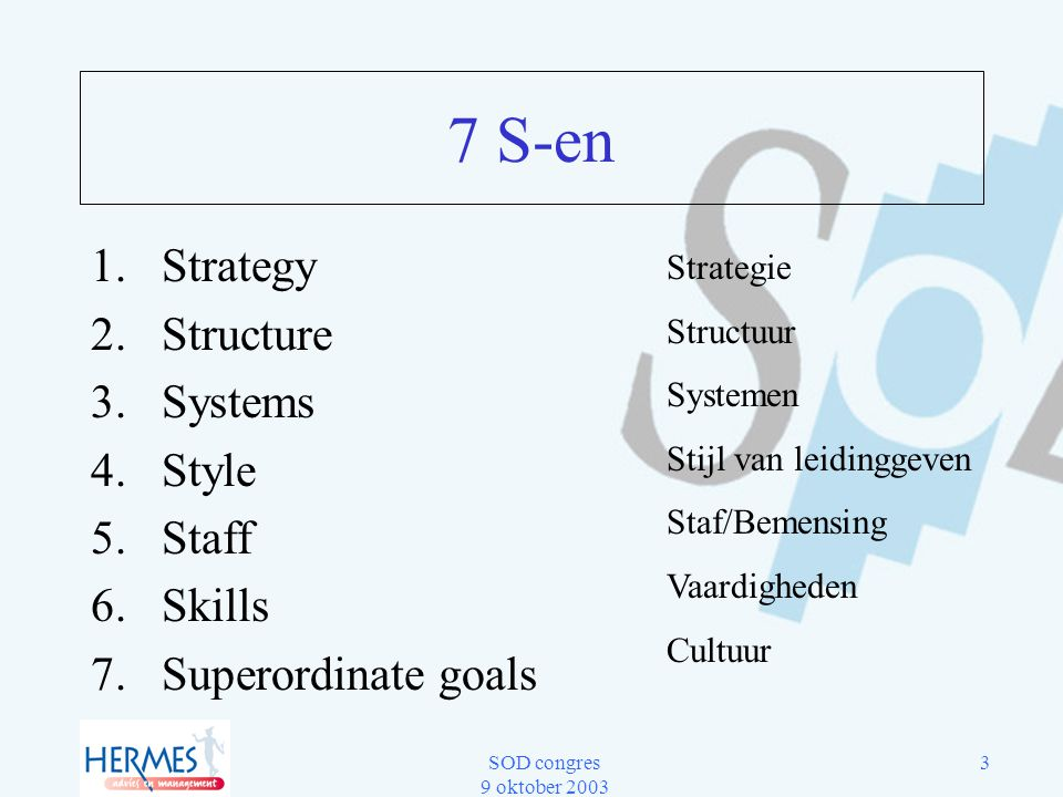 7 S-en Strategy Structure Systems Style Staff Skills