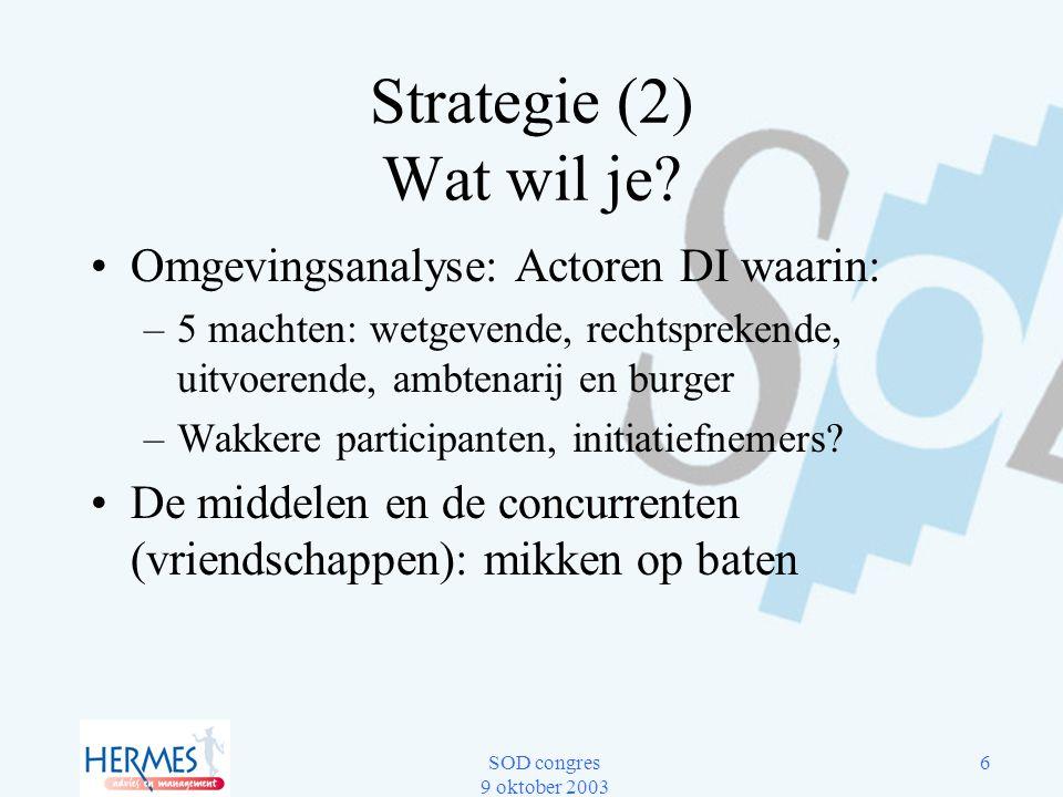 Strategie (2) Wat wil je Omgevingsanalyse: Actoren DI waarin: