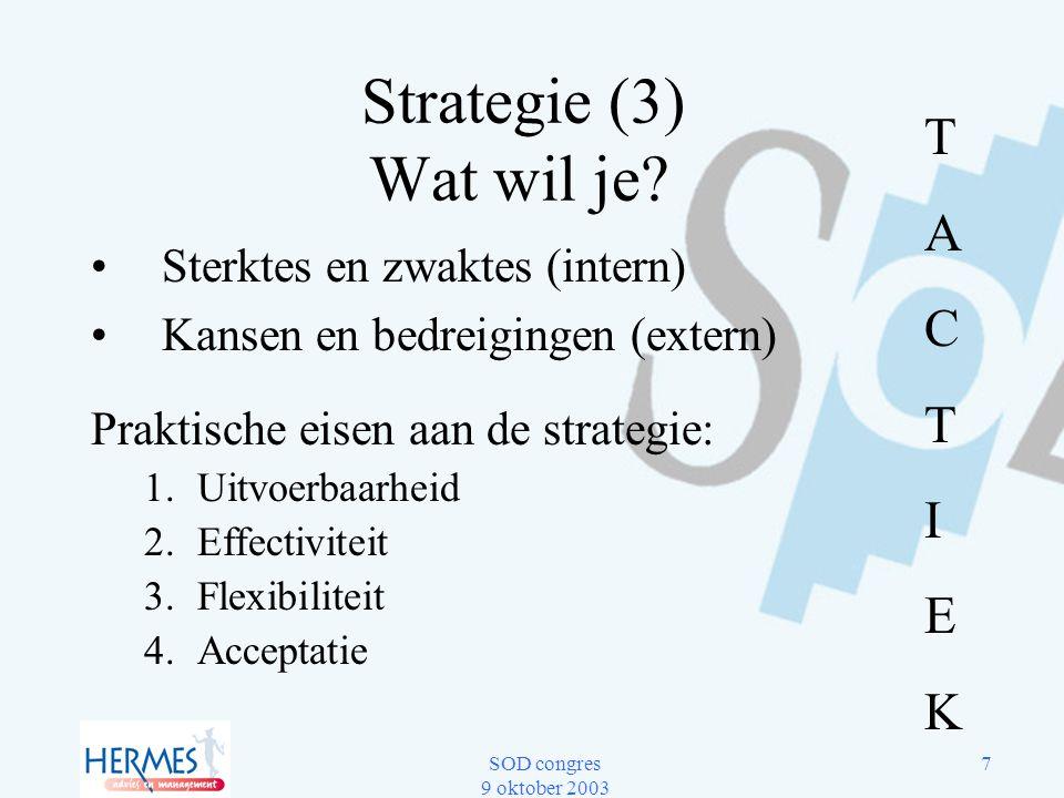 Strategie (3) Wat wil je T A C I E K Sterktes en zwaktes (intern)